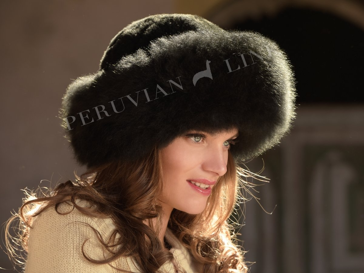 Alpaca Fur Hat - Exquisite Rich Black PL-16971