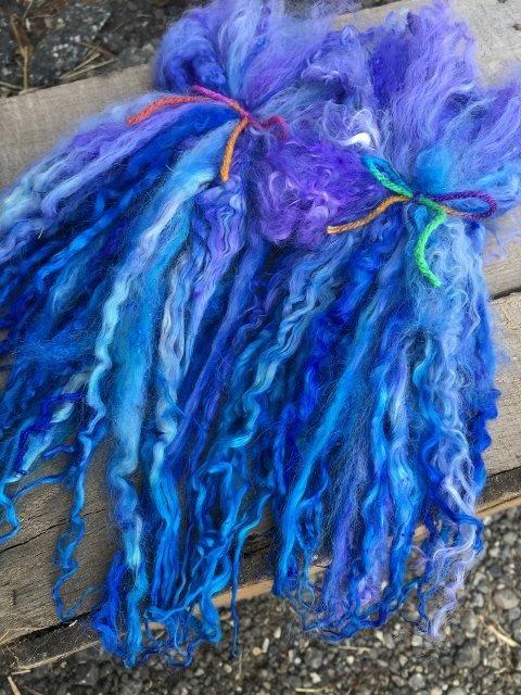 Long Suri Alpaca Locks, 11 Inches, Hand-Dyed, Indigo