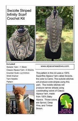 Alpaca Crochet Kit - Swizzle Striped Infinity Scarf