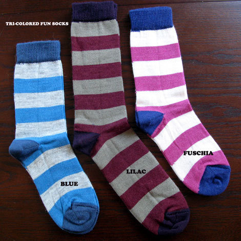 Tri-Color Striped Alpaca Socks