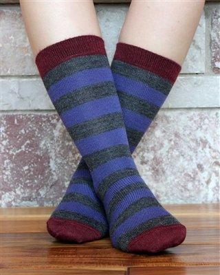 Tri-Color Striped Alpaca Socks PL-091031
