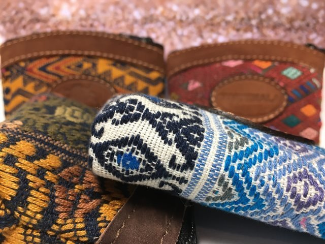 Handwoven and Leather Mini Coin Purse