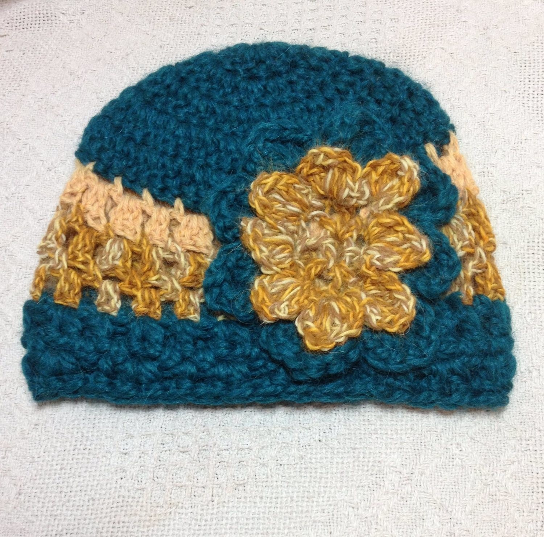 Alpaca Hat - Green, Gold, with Flower