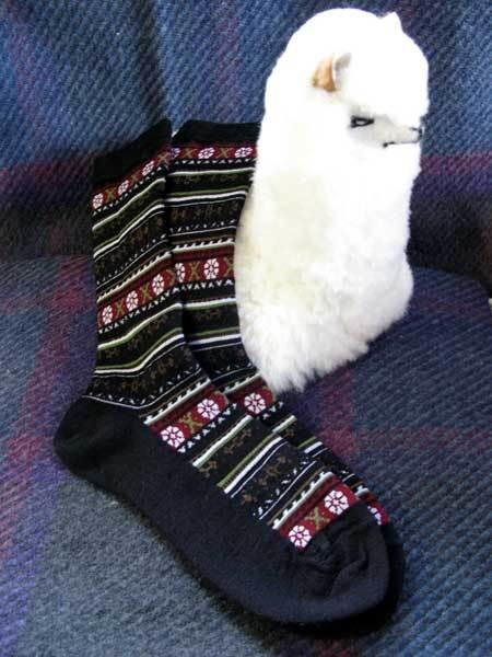 Ladies Alpaca Flower Crew Socks