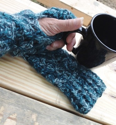Alpaca Fingerless Gloves - Totally Teal