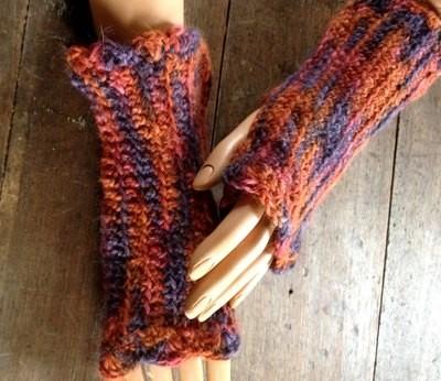 Alpaca Ribbed Fingerless Gloves - Paca Paints