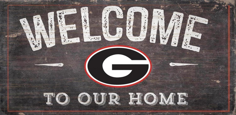 Georgia Bulldogs Welcome Distressed Wood Sign