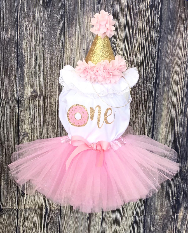 1st Birthday One Donut Tulle Tutu Bodysuit Party Hat Set