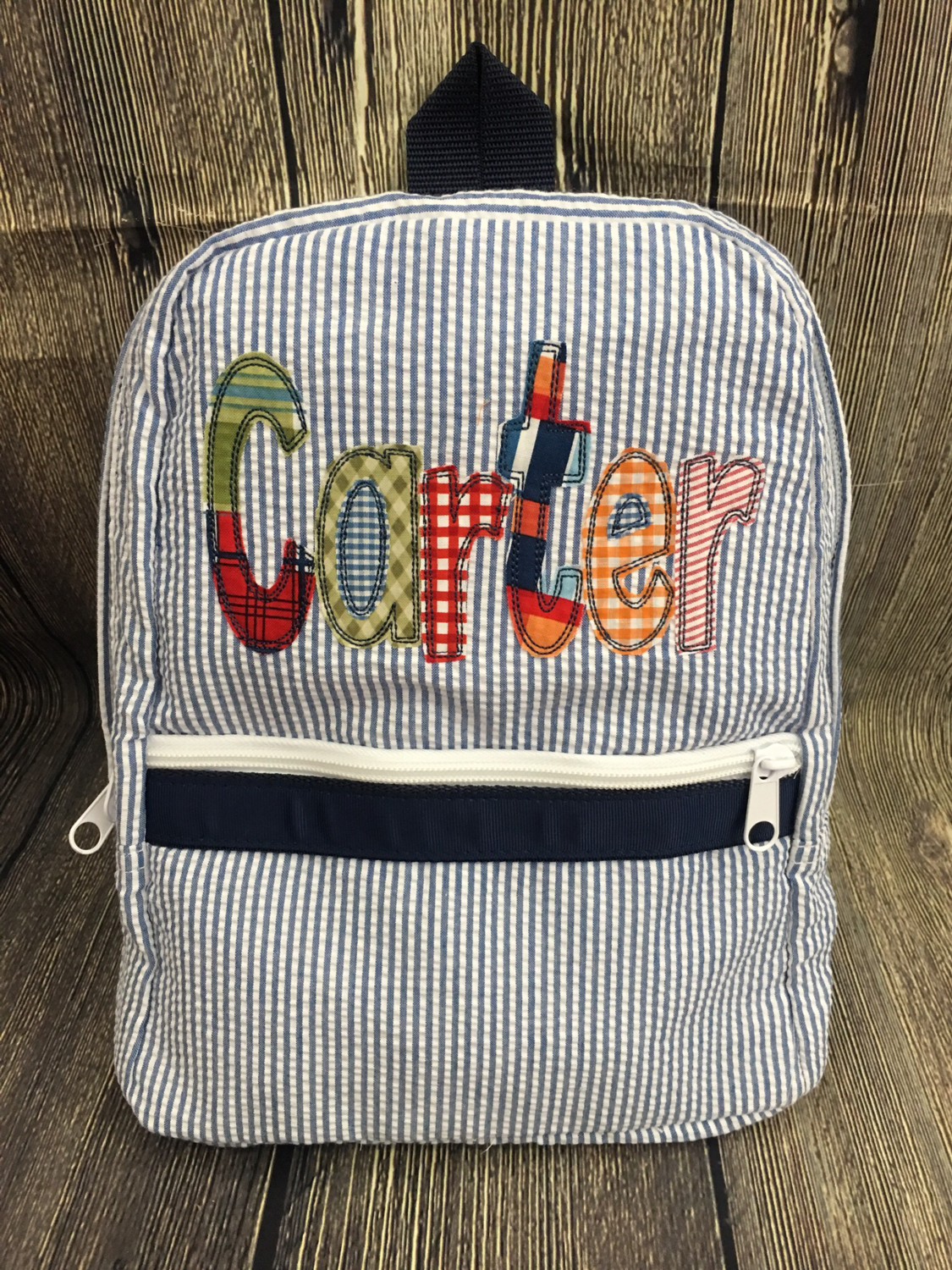 Appliqued (Oh Mint! brand) Seersucker backpack - Small Toddler 664d9a5eea141