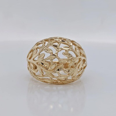 Estate 14kt Yellow Gold Filigree Domed Ring