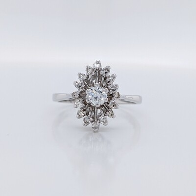 Estate 14kt White Gold Vintage Cluster Ring