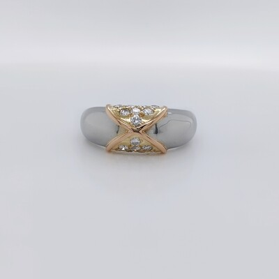 18kt Tri-Color Diamond Band