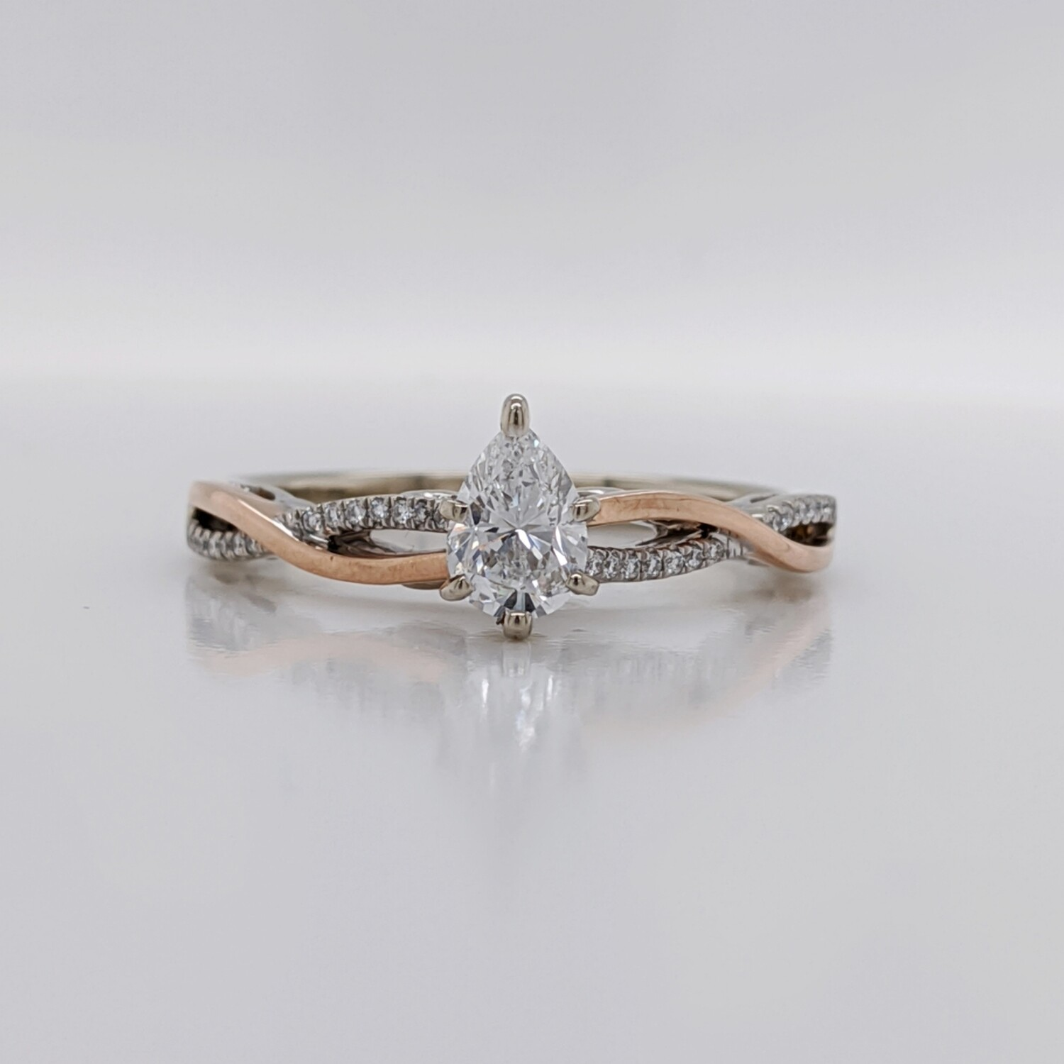 14kt Two-Tone Pear Diamond Engagement Ring