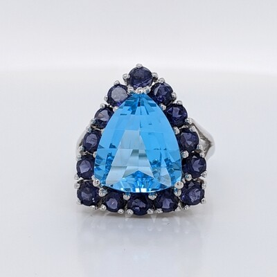 14kt White Gold Blue Topaz Statement Ring