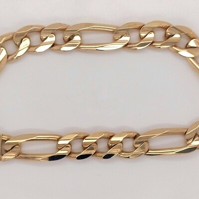 14kt Yellow Gold Men's Figaro Bracelet