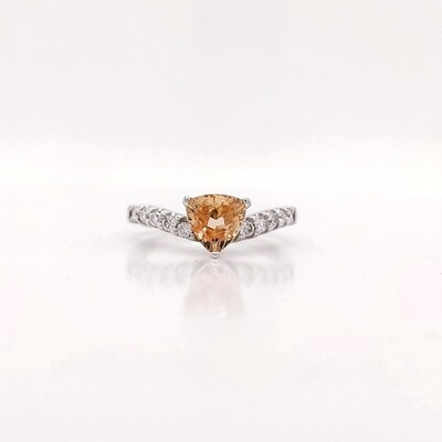 14kt Yellow Stone & Diamond Ring