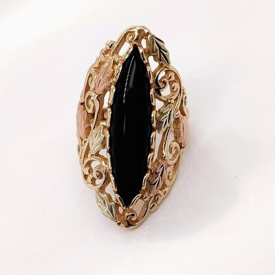 10kt Black Hills Gold Onyx Statement Ring