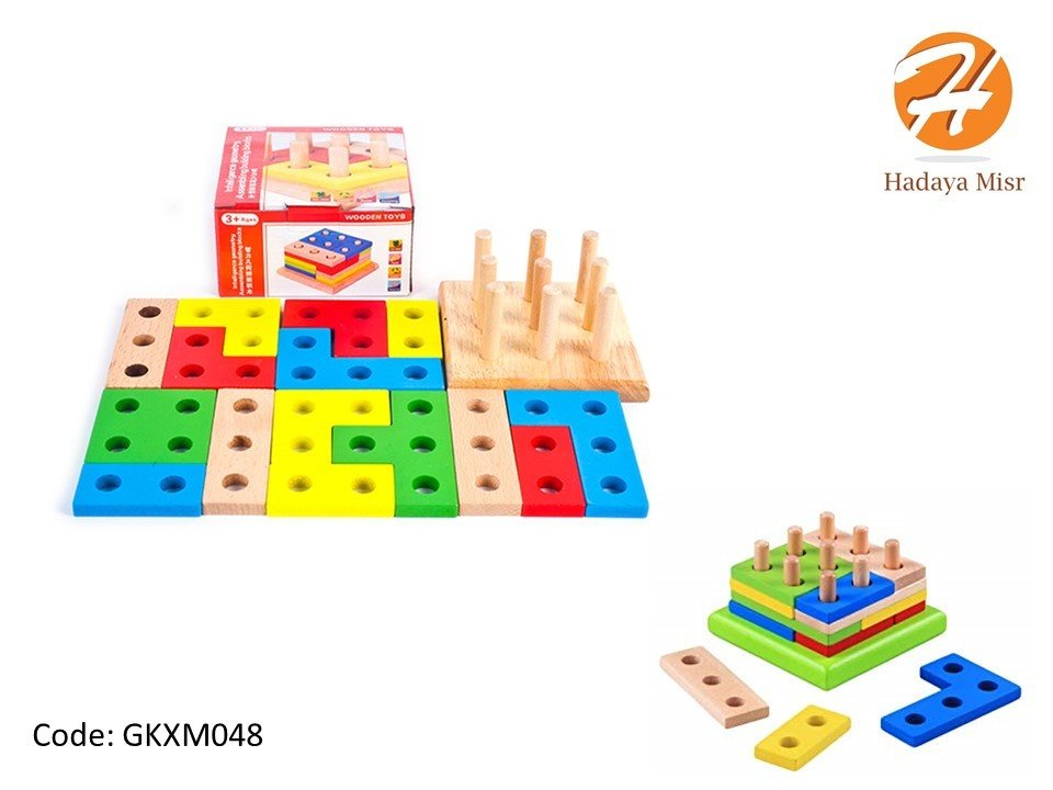 educational wood toy مطابقة اشكال مربع خشبية