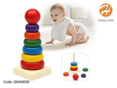 Wood toy عمود حلقات خشب