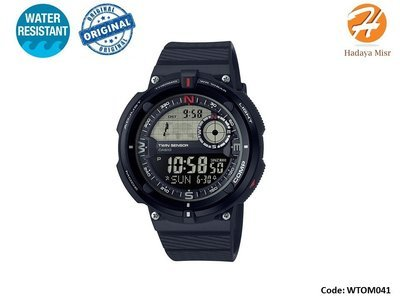 Casio Men's 'Twin Sensor' Resin Watch, SGW-600H-1BCF- ساعة كاسيو رجالى