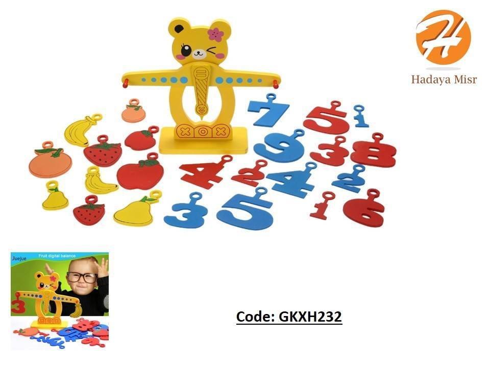 لعبة ميزان الفاكهه للأطفال مكنوه من الخشب