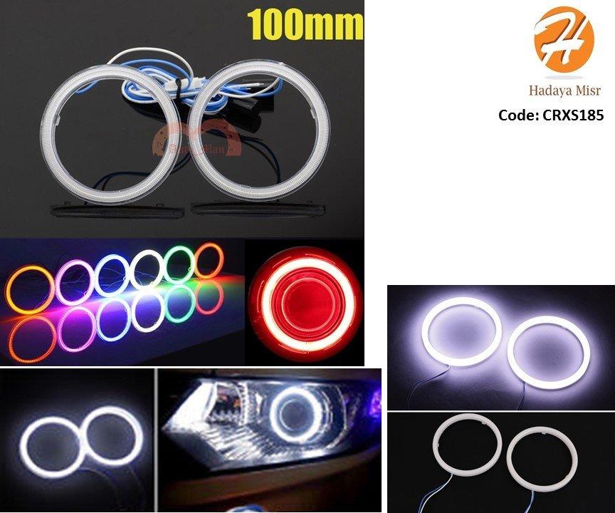 2pcs 100mm White LED Car Angel Eyes Halo Ring Headlight قطعتين اضاءة ليد دائرية لكشافات السيارة