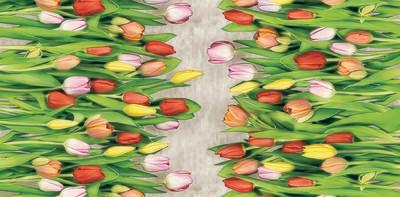 Cкатерть клеенка ПВХ Тюльпаны