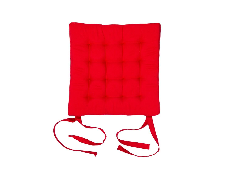 Подушка на стул стеганная красная 42х42х4см