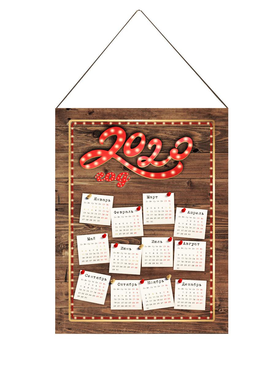 Настенный календарь текстильный лофт дерево