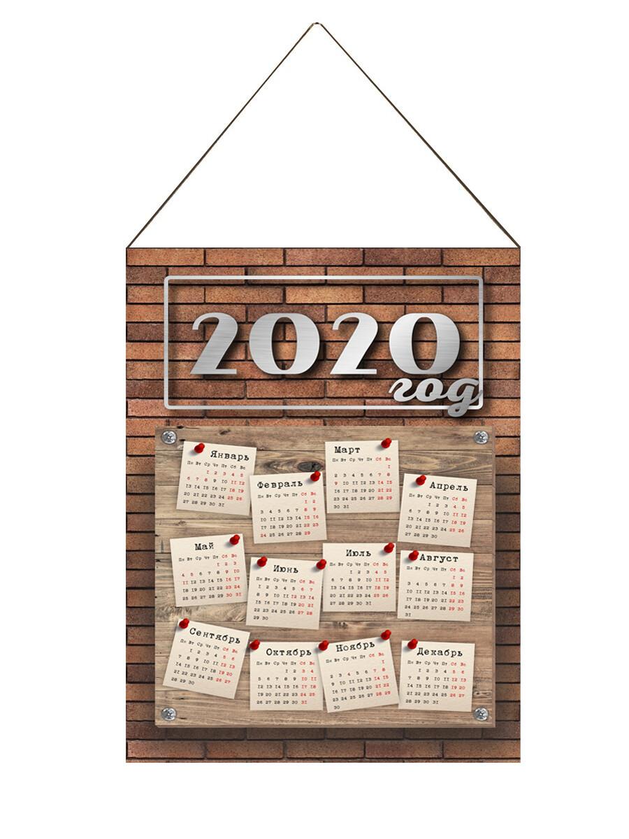Настенный календарь текстильный лофт кирпич
