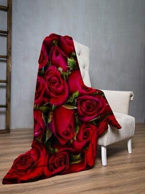 Плед флис Розы