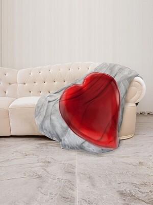 Плед флис В форме сердца