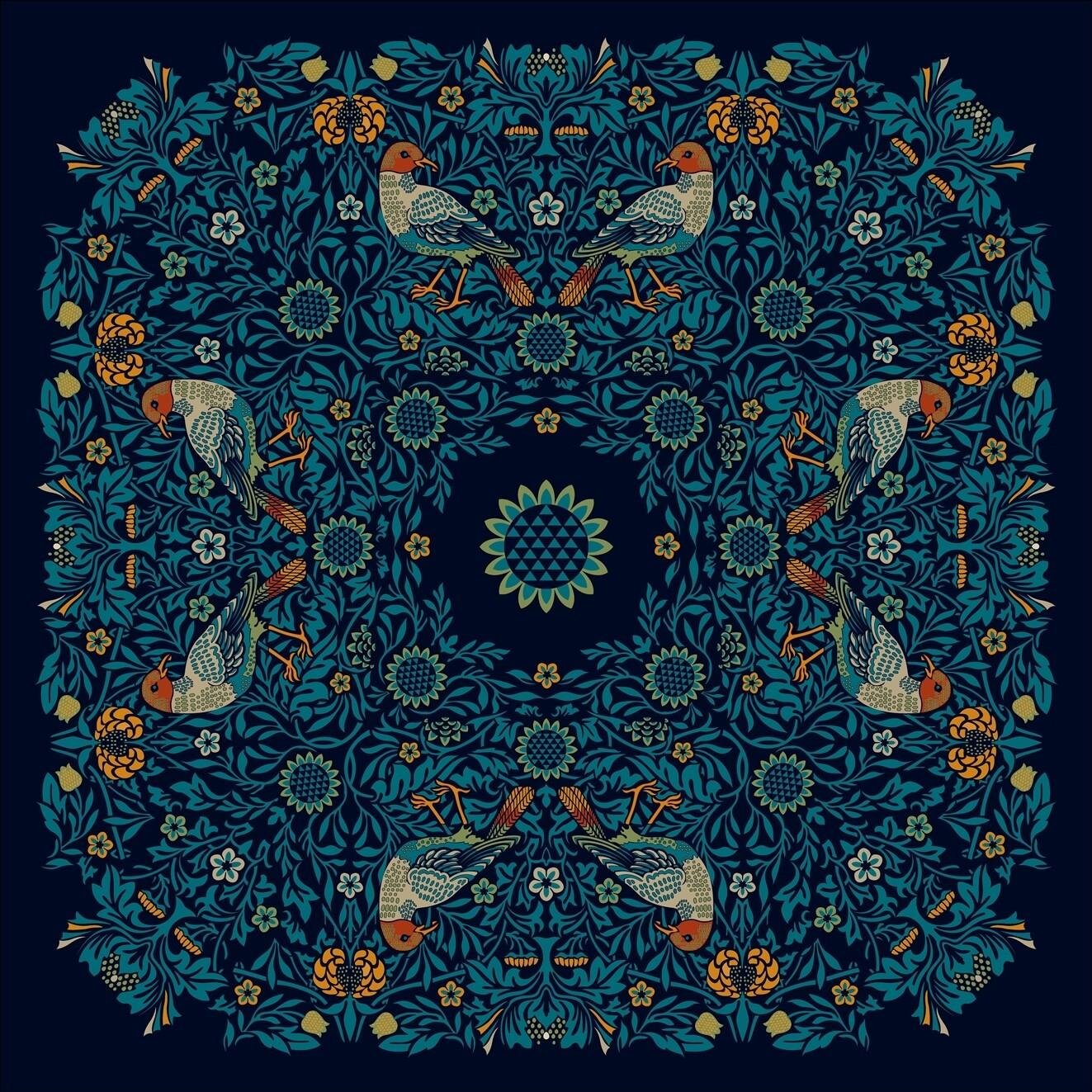 Платок шейный Птицы синий