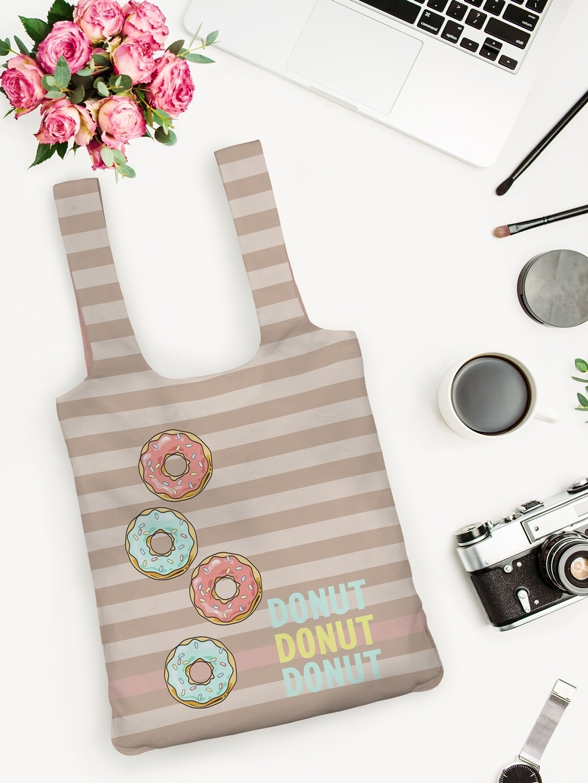 Сумка рюкзак шоппер Пончики беж