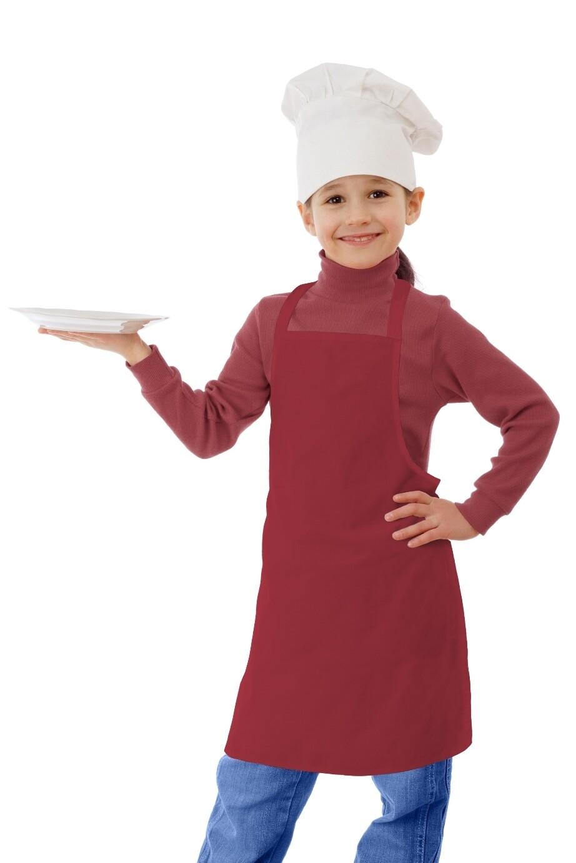 Фартук текстиль детский однотонный красный для девочки