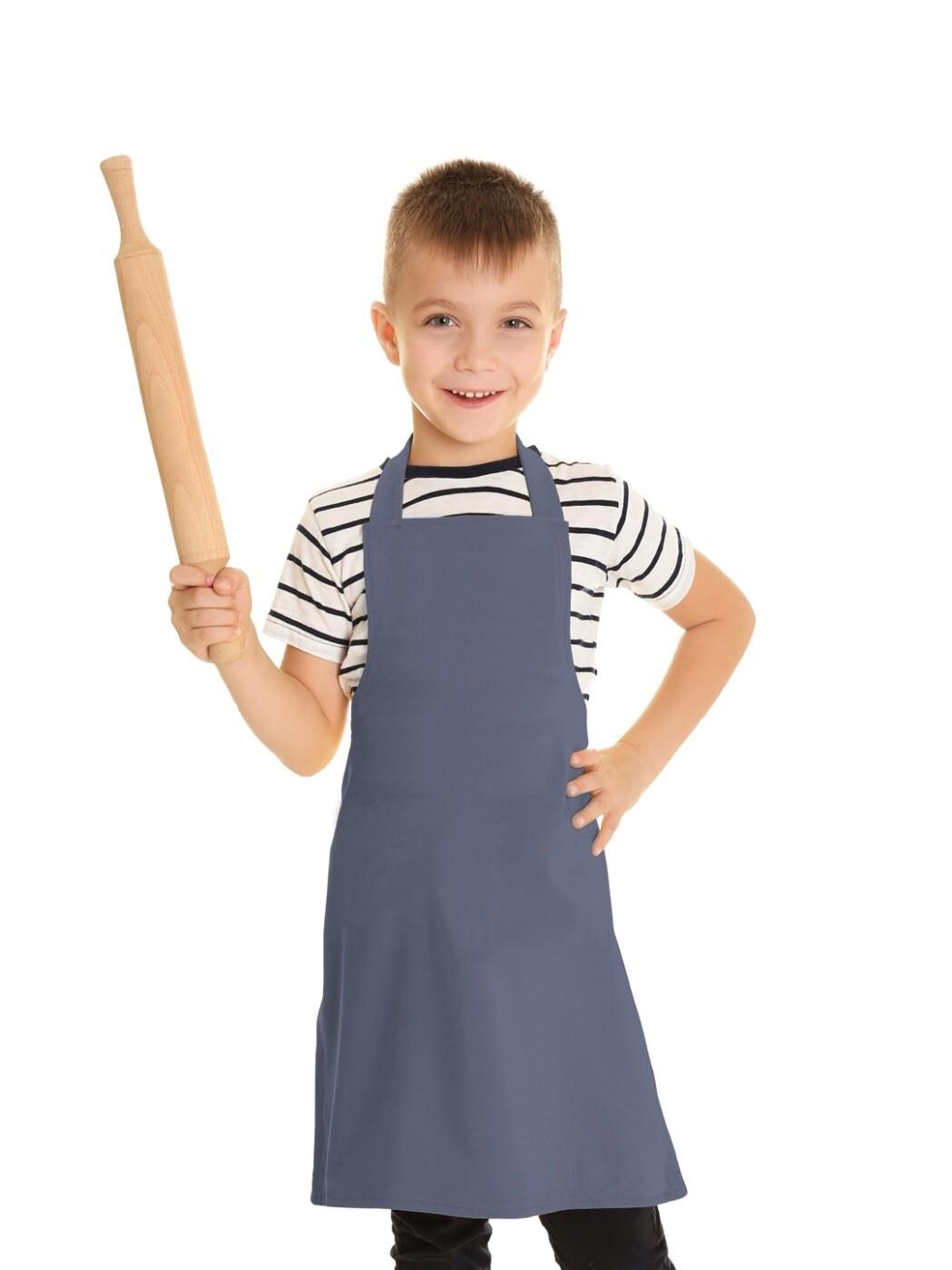 Фартук текстиль детский однотонный серый для мальчика