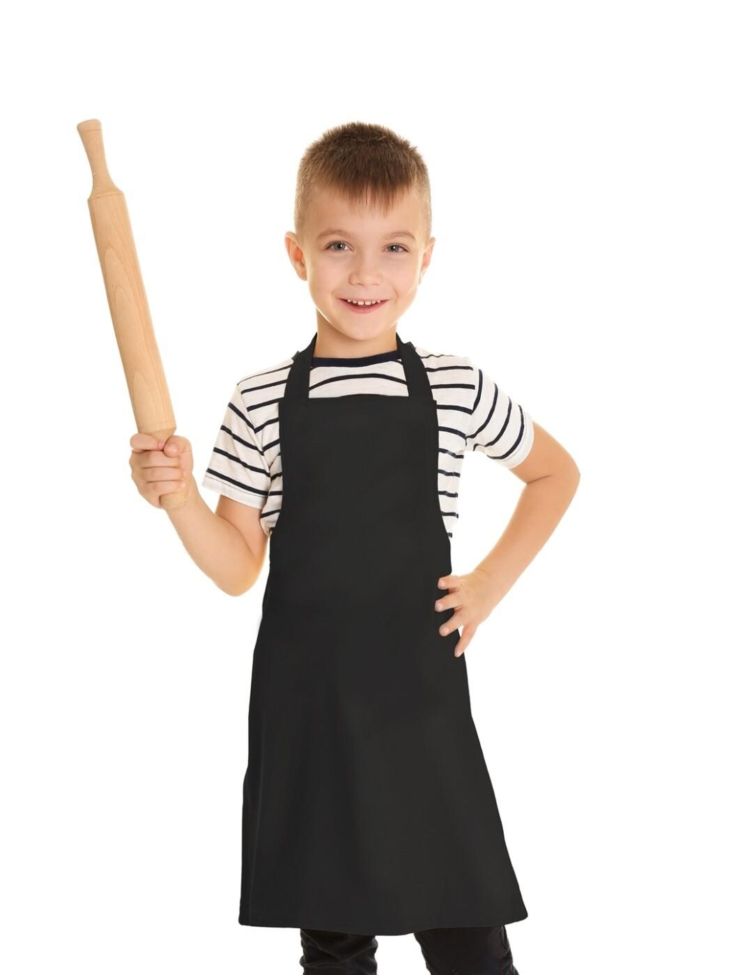 Фартук текстиль детский однотонный черный для мальчика