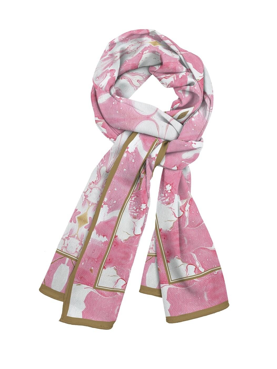 Платок шейный Розовый узор