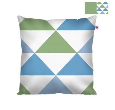Декоративная подушка треугольники синие