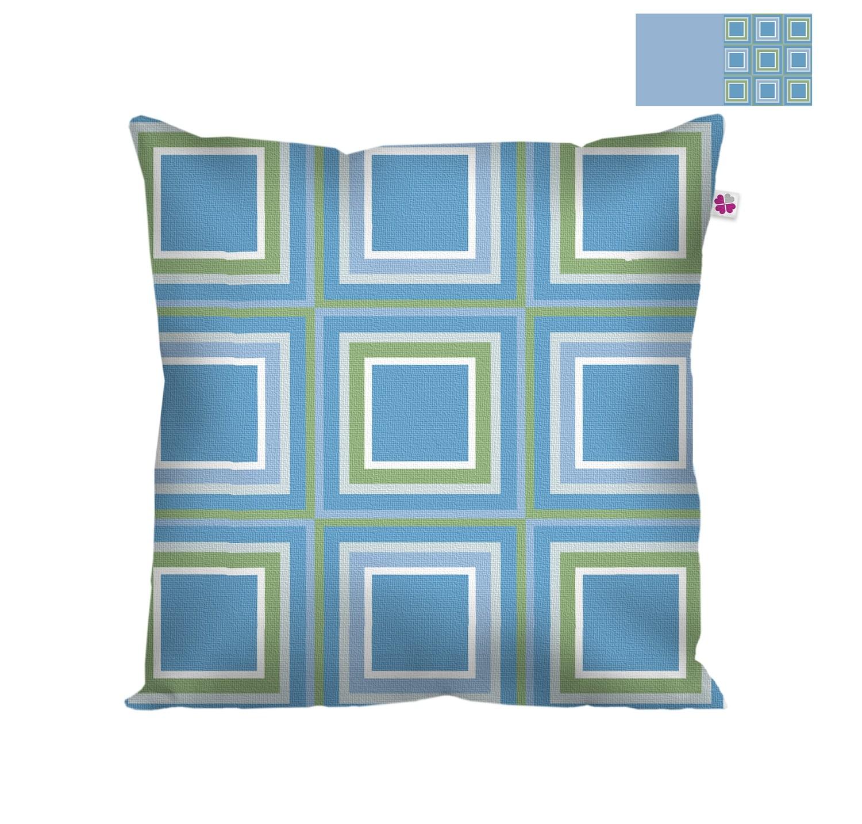 Декоративная подушка квадраты синие