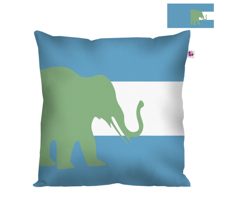 Декоративная подушка слон синий