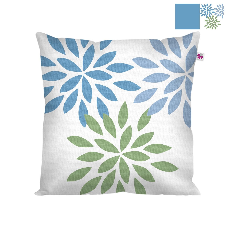 Декоративная подушка пионы синие