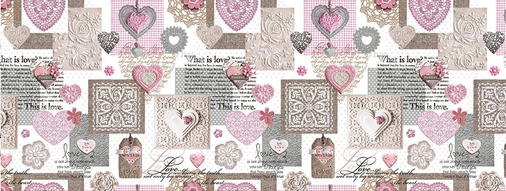 Клеенка ПВХ  Это Любовь розовая