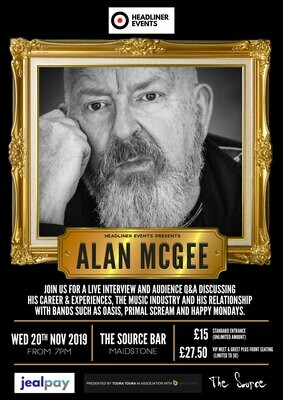 Wednesday 20th November 2019 - Headliner Events Presents Alan McGee