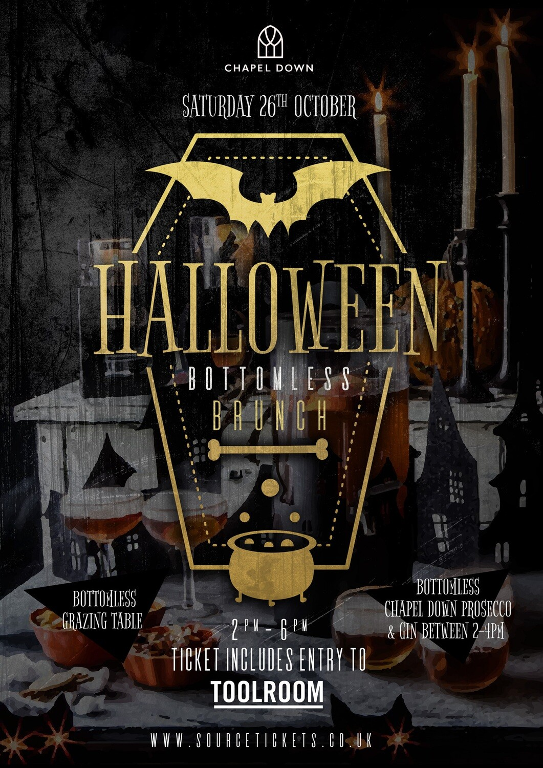 Saturday 26th October 2019 - Halloween Prosecco & Gin Bottomless Brunch at The Source