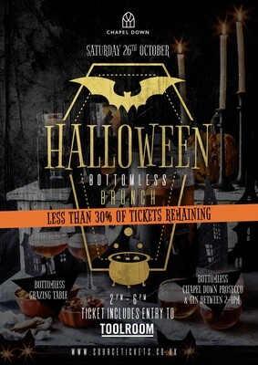 Saturday 26th October 2019 - Halloween Prosecco & Gin Bottomless Brunch at The Source (Less than 30% of tickets remaining)