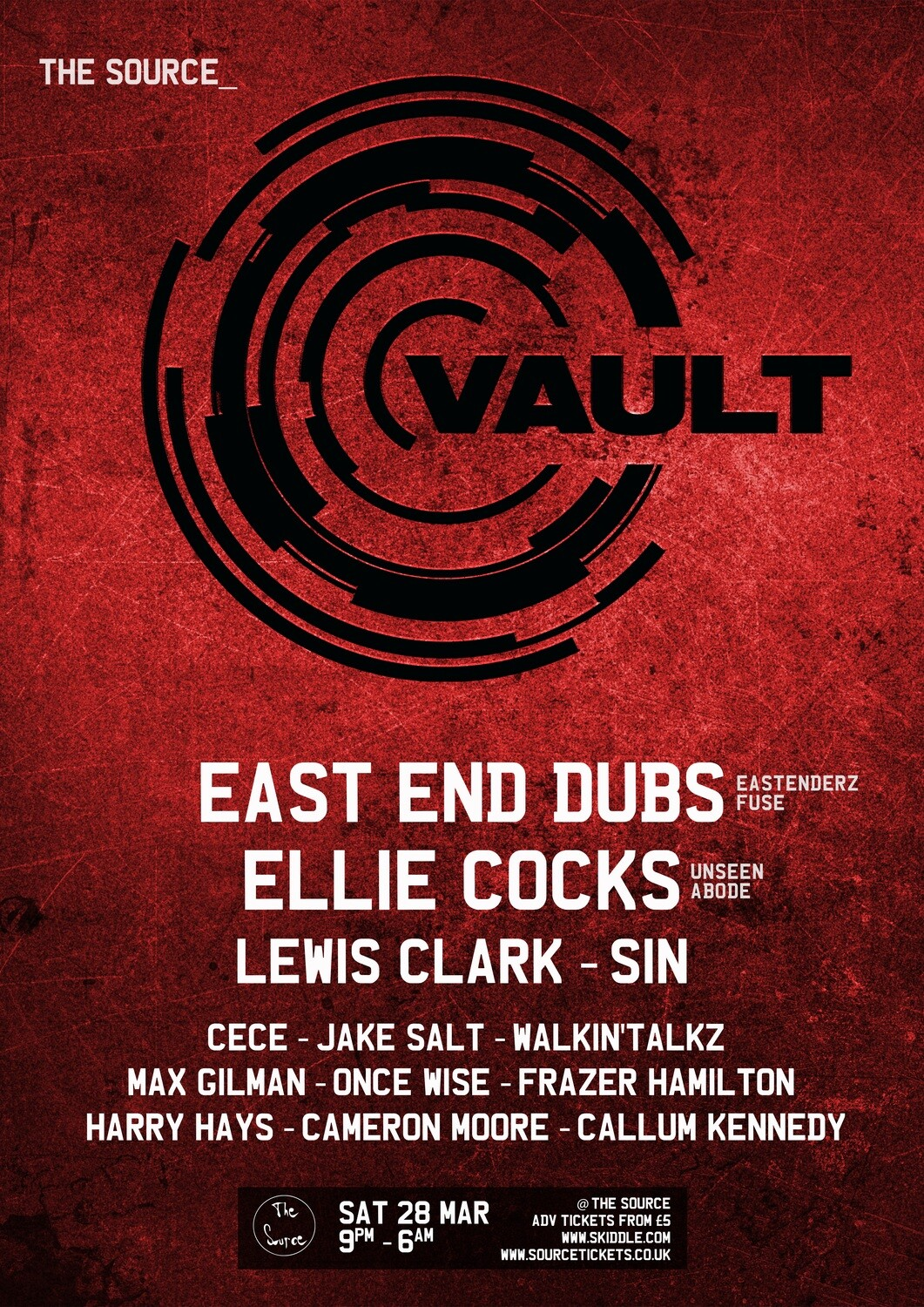 Saturday 28th March 2020 - Vault w/ East End Dubs (Eastenderz/FUSE), Ellie Cocks (Unseen/ABODE), Lewis Clark b2b SiN & more!