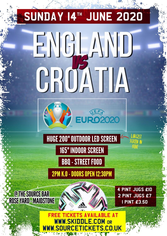 Sunday 14th June 2020 - England V Croatia Euro 2020 - 1st Pint £1.50