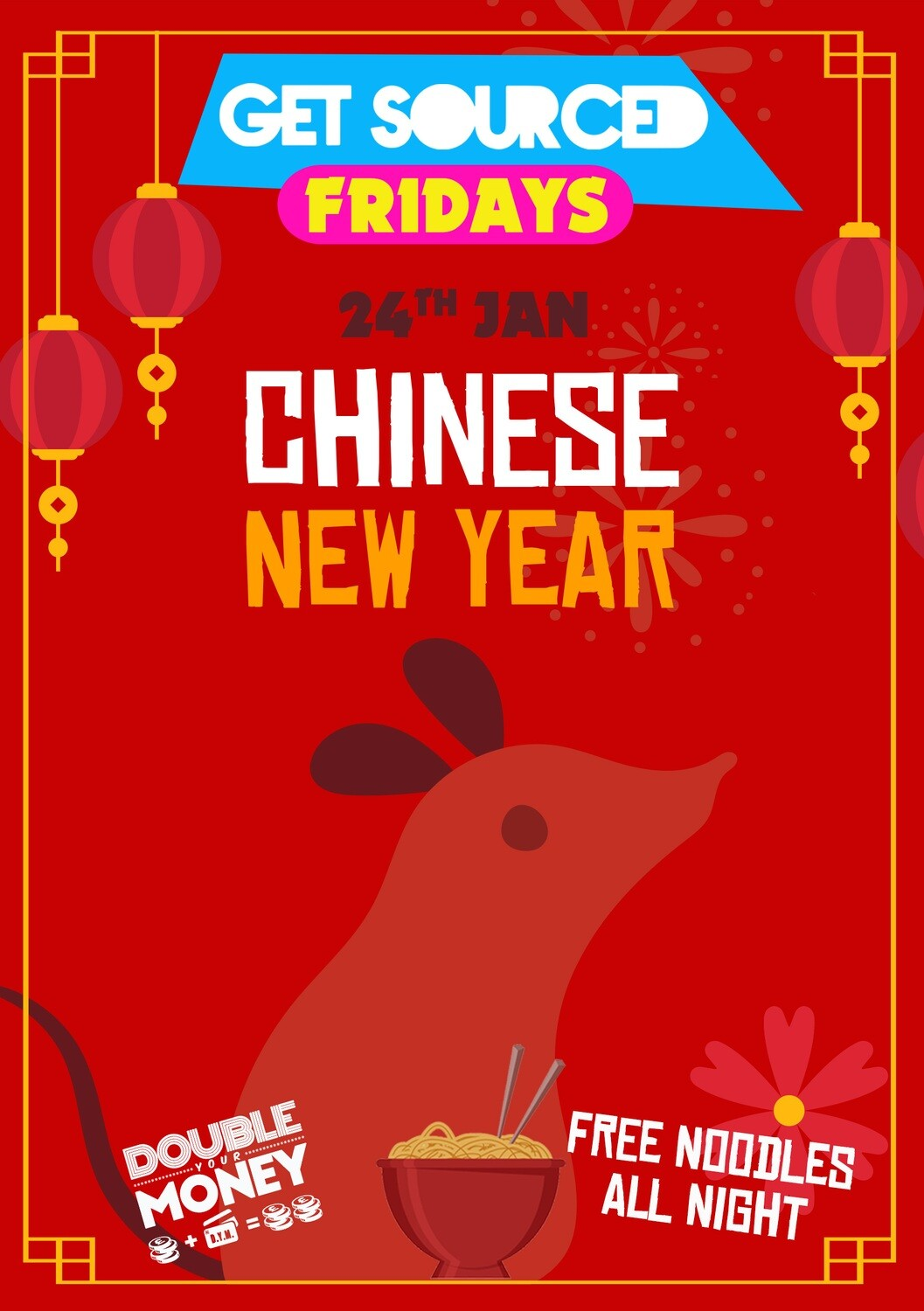 Friday 24th January 2020 - Get Sourced Fridays 'Chinese New Year - free noodles, prawn crackers & more!' ***TABLES £40***