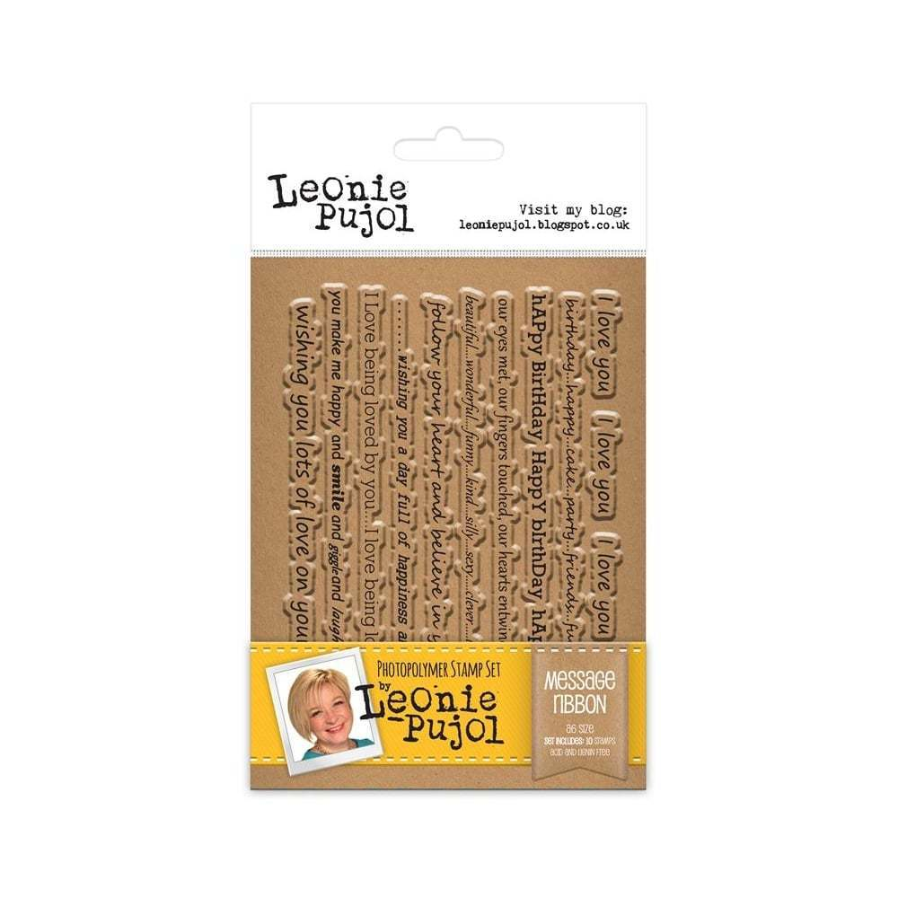 Leonie Pujol JUNE release A6 Stamps - MESSAGE RIBBONS **LESS THAN HALF  PRICE**